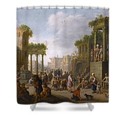 Architectural Ruin With A Crowd Shower Curtain