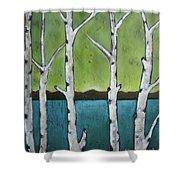 Aspen Trees On The Lake Shower Curtain