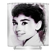Audrey Hepburn, Vintage Actress Shower Curtain