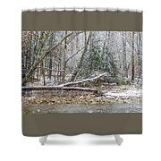 Autumn Snow Williams River  Shower Curtain