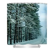 Bad Road Conditions While Driving In Winter Shower Curtain
