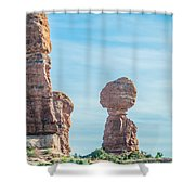 Balanced Rock In Arches National Park Near Moab  Utah At Sunset Shower Curtain