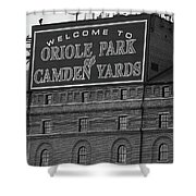 Baltimore Orioles Park At Camden Yards Bw Shower Curtain