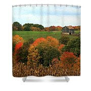 Barn On Autumn Hillside  A Seasonal Perspective Of A Quiet Farm Scene Shower Curtain