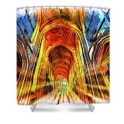Bath Abbey Sun Rays Art Shower Curtain