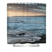 Beautiful Dramatic Sunset Over A Rocky Coast Shower Curtain