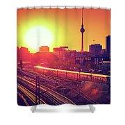 Berlin - Sunset Skyline Shower Curtain