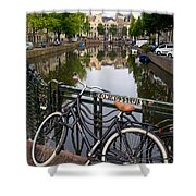 Bicycle Parked At The Bridge In Amsterdam. Netherlands. Europe Shower Curtain