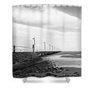 Black And White Image Of Shorncliffe Pier Shower Curtain