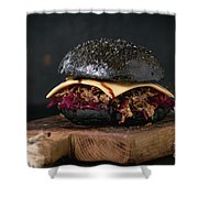 Black Burger With Stews Shower Curtain
