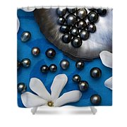 Black Pearls And Tiare Flowers Shower Curtain