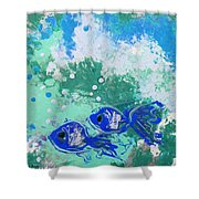 2 Blue Fish Shower Curtain