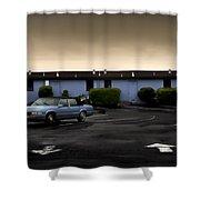 Blue Motel Shower Curtain