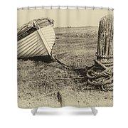Boat At Porlock Weir. Shower Curtain