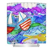 2 Boats And Yellow Fish Shower Curtain