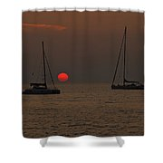 Boats In The Sunset Shower Curtain by Joana Kruse