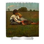 Boys In A Pasture Shower Curtain