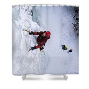 Brandon Prince Climbing Genesis I Area In Hyalite Canyon  Shower Curtain