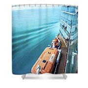 Browsing Around Cruise Ship On The Pacific Ocean Shower Curtain