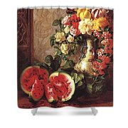 bs- George Henry Hall- Still Life George Henry Hall Shower Curtain
