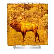 Bull Elk Calling Out Shower Curtain