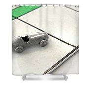 Car Icon On A Boardgame Shower Curtain