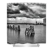 Cardiff Bay Panorama Mono Shower Curtain