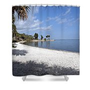 Castaway Point On The Indian River Lagoon With Coquina Rock Shower Curtain