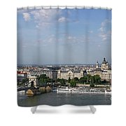 Chain Bridge On Danube River Budapest Cityscape Shower Curtain