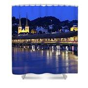 Chapel Bridge Or Kapellbrucke, Lucerne, Switzerland Shower Curtain
