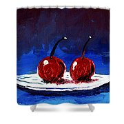 2 Cherries On A White Plate Shower Curtain