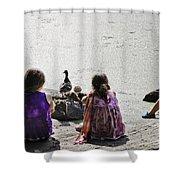 Children At The Pond 5 Shower Curtain
