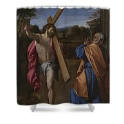 Christ Appearing To Saint Peter On The Appian Way Shower Curtain