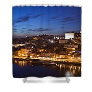 City Of Porto In Portugal By Night Shower Curtain