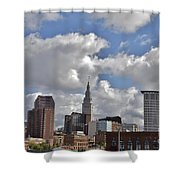Cleveland Skyline From The Flats River District Shower Curtain