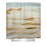 Close-up Of Beautiful Sunlit Ripple Surface Of Sand In Desert  Shower Curtain