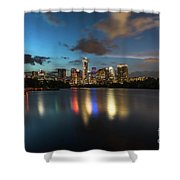 Clouds Roll Over The Austin Skyline As The Neon Reflects In The Glass-like Waters Of Lady Bird Lake Shower Curtain