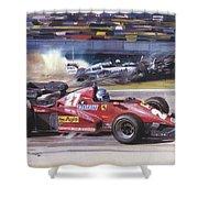 Cma 081 1983 San Marino Gp Imola Patrick Tambay In Ferrari Roy Rob Shower Curtain