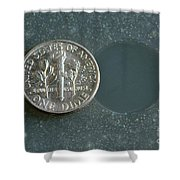 Coin Containing Silver Inhibits Shower Curtain
