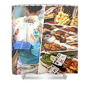 Collage Of Japan Food Images Shower Curtain