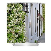 Colonial Home Exterior With Vertical Plants And Old Lanterns Displayed On The Side Of Home Shower Curtain