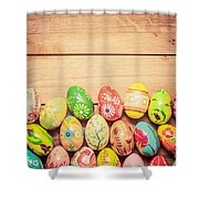 Colorful Hand Painted Easter Eggs On Wood Shower Curtain