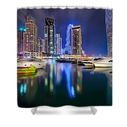Colorful Night Dubai Marina Skyline, Dubai, United Arab Emirates Shower Curtain