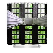 2 Column Stain Green Shower Curtain