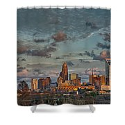 Cotton Candy Sky Over Charlotte North Carolina Downtown Skyline Shower Curtain