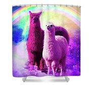 Crazy Funny Rainbow Llama In Space Shower Curtain