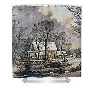 Currier & Ives: Winter Scene Shower Curtain