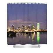 Dallas Skyline Twilight Shower Curtain