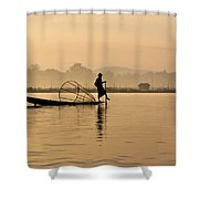 Dawn On Inle Lake Shower Curtain
