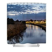 Dawn Over The Town River Shower Curtain